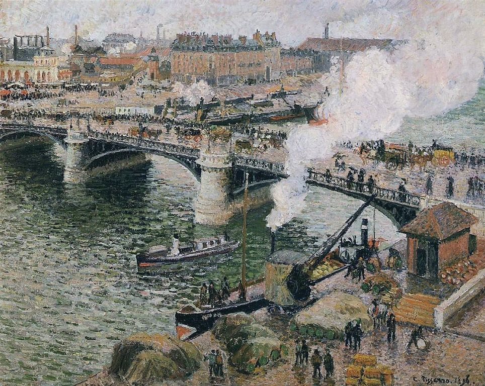 Pont Boieldieu in Rouen, Rainy Weather painting by Camille Pissarro