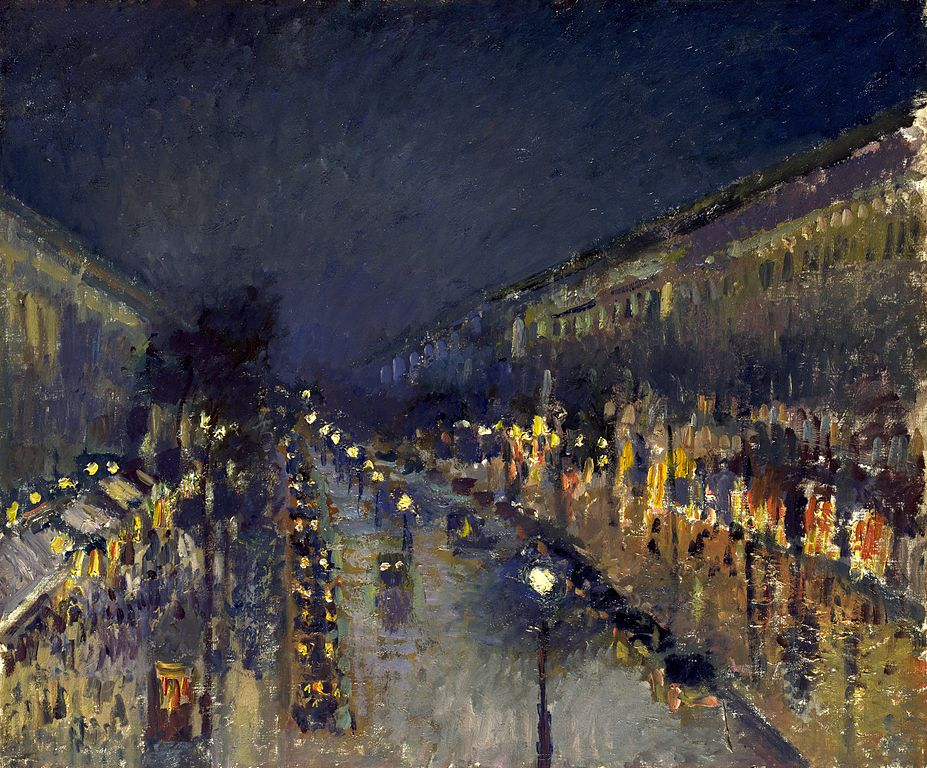 The Boulevard Montmartre at Night painting by Camille Pissarro