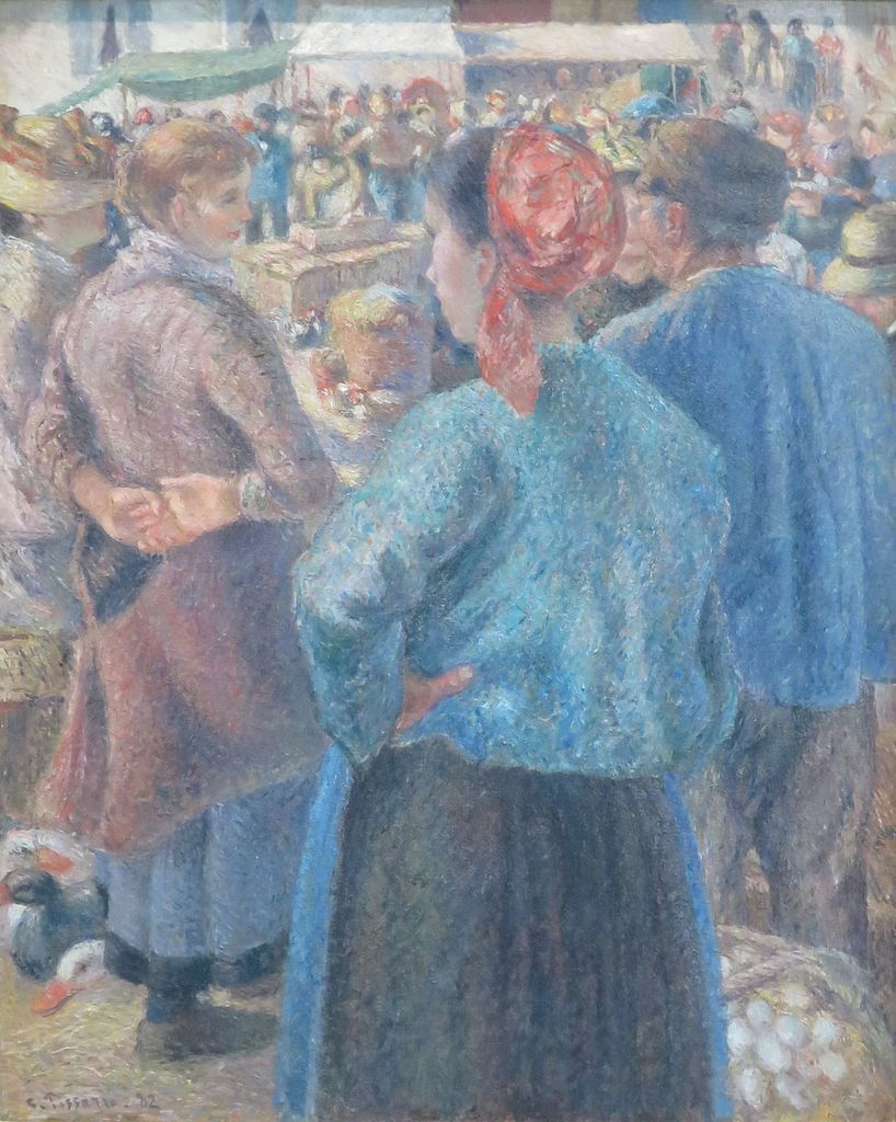 The Poultry Market at Pontoise painting by Camille Pissarro