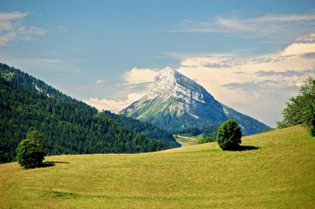 A photograph of Chamechaude Mountain in the French Alps