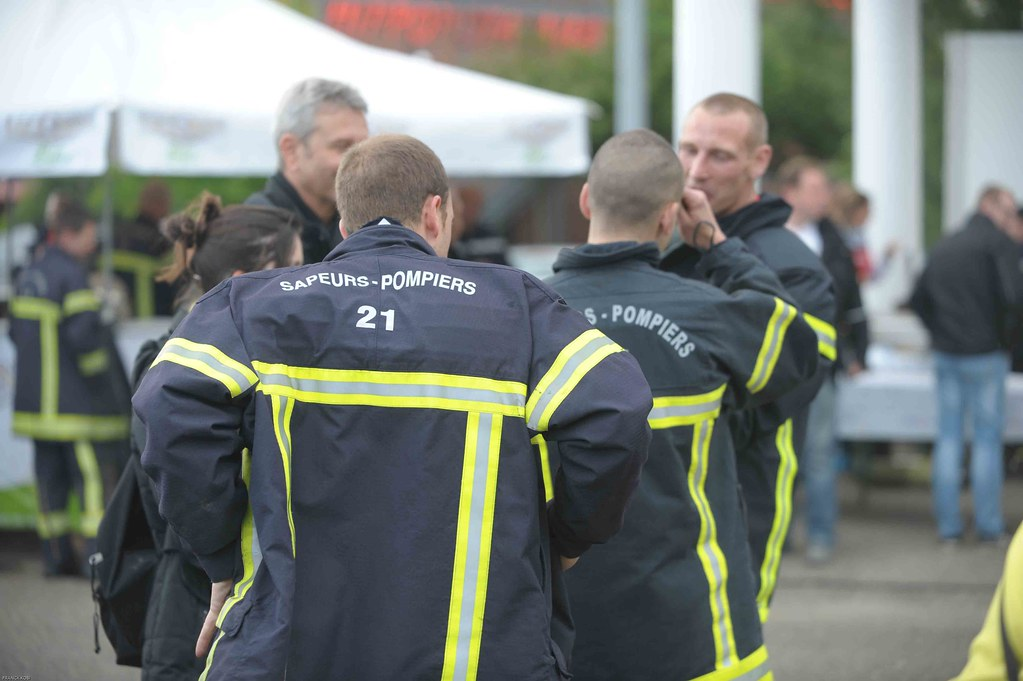 A group of firefighters talking