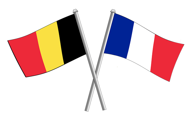 The Belgian and French flags