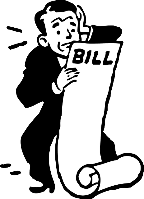Illustration of a man looking at his bills