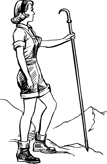 Illustration of a woman hiking alone