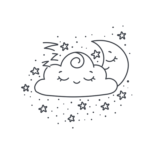 Illustration of a moon, stars, and cloud