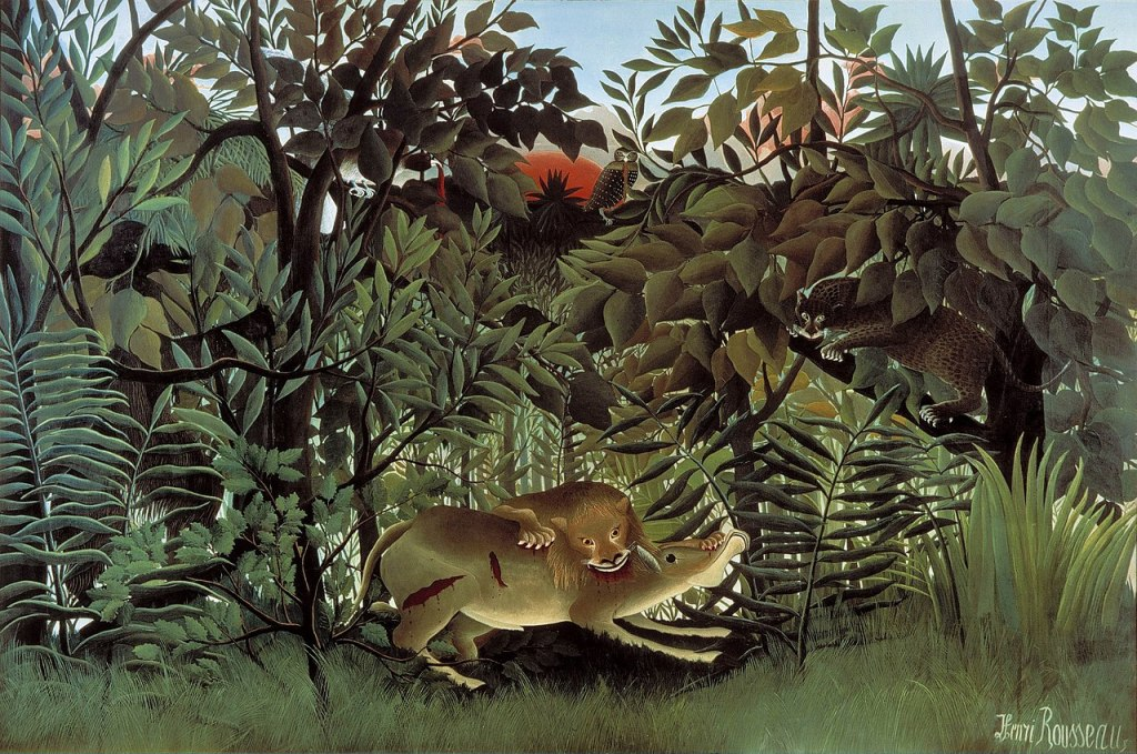 The Hungry Lion Throws Itself on the Antelope (Le lion ayant faim se jette sur l'antilope) by Henri Rousseau