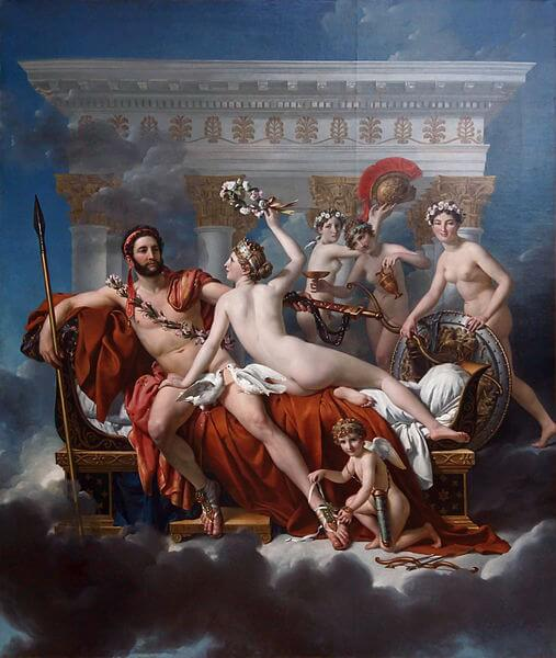 Mars Disarmed by Venus and the Three Graces painting by Jacques-Louis David