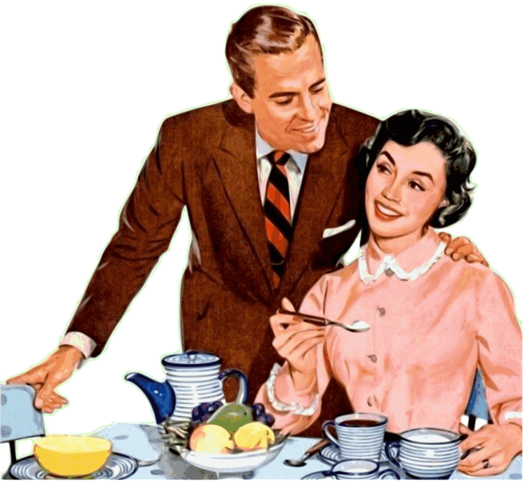 An illustration of a married couple at the breakfast table