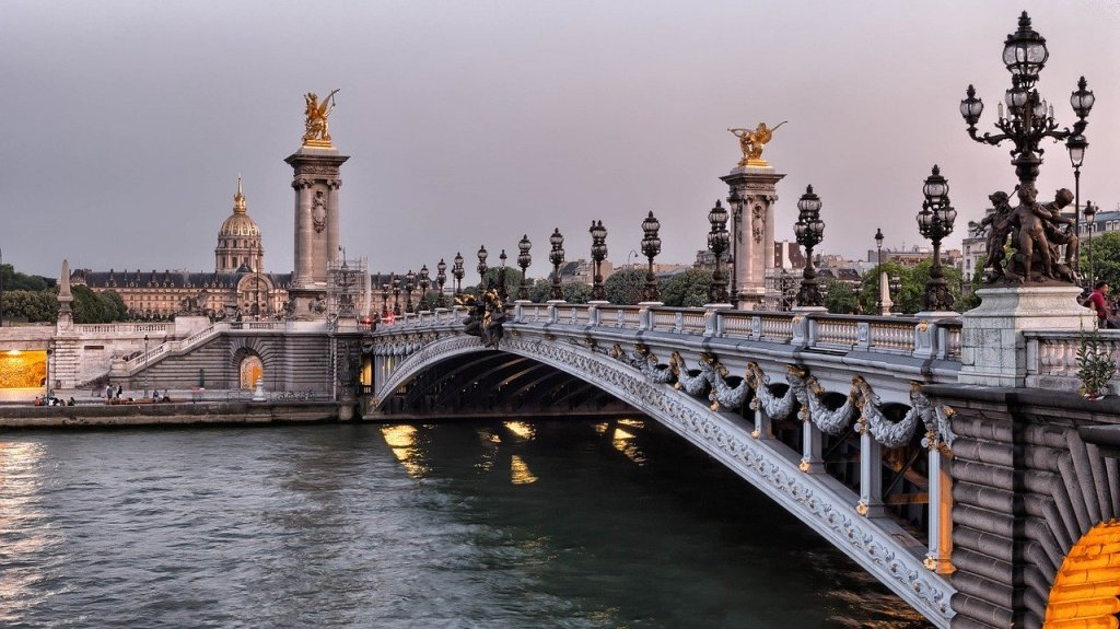 A view Pont Alexandre III from the banks of the River Seine
