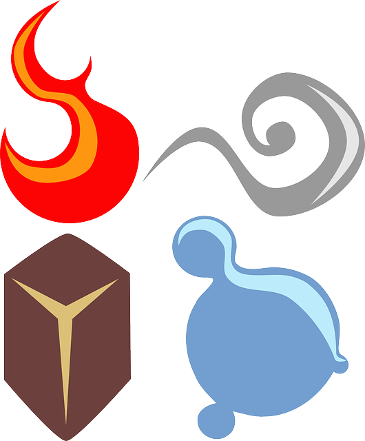Illustration of the four elements - earth, fire, water, and air