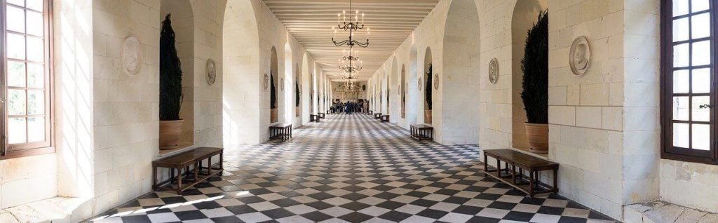 The interior of the gallery of the Château de Chenonceau.