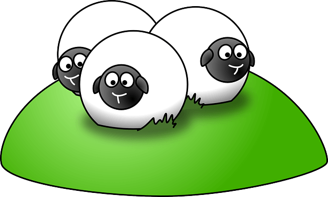 Illustration of a flock of sheep