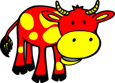 An illustration of a red and yellow cow