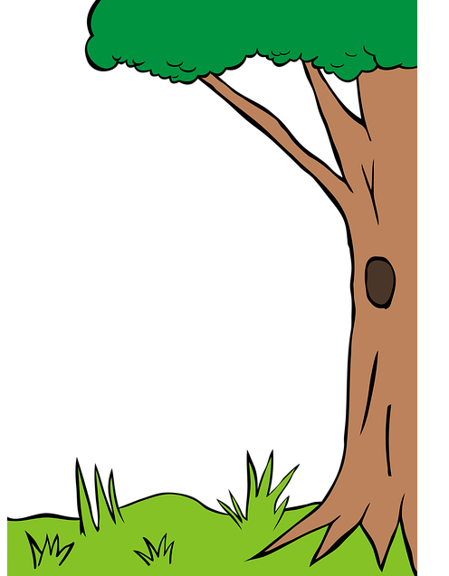 Illustration of a tree trunk with a hollow in it