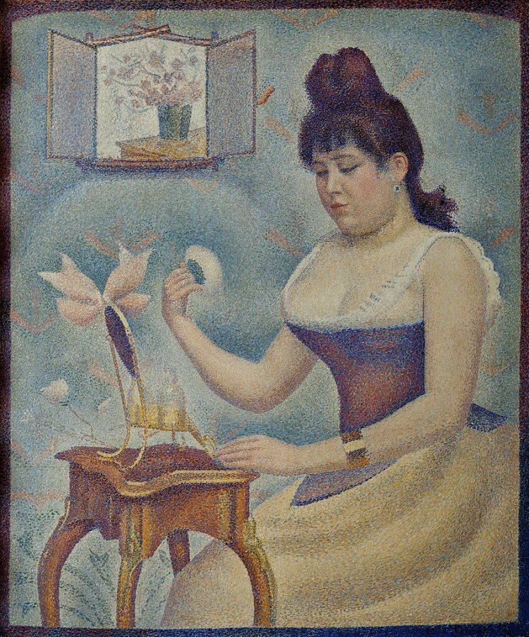 Young Woman Powdering Herself painting by Georges Seurat