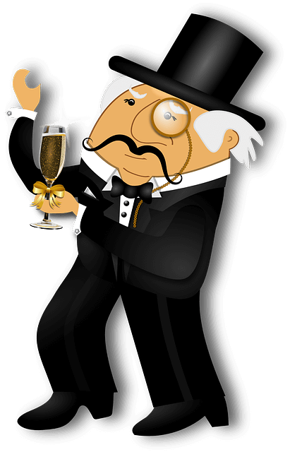 Illustration of a man wearing a suit, a top hat, and a monocle