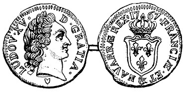 Illustration of the head and tails sides of a French sou coin